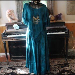 Vintage Turquoise Fringe dress 60s 70s Maxi